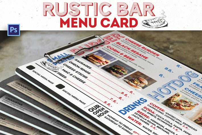 Thumbnail for Rustic Bar Menu Card