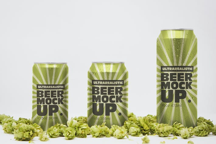 Thumbnail for Front Beer Can Trio Mockup