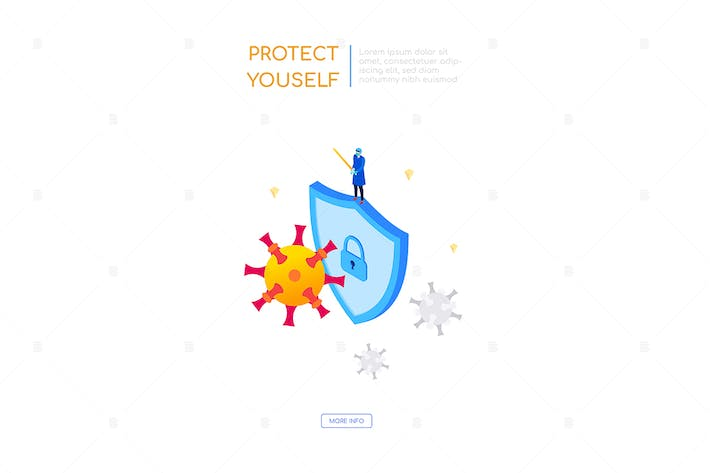 Protect yourself from virus - isometric banner