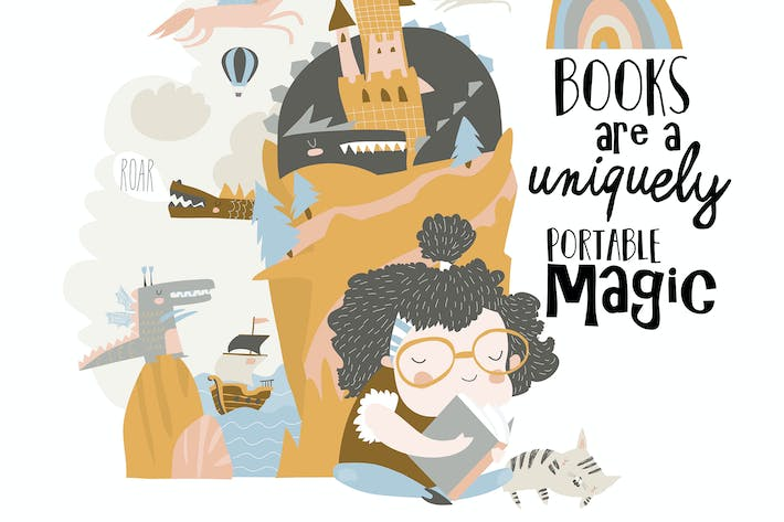 Thumbnail for Cute girl reading fairy tale and dreaming. Vector