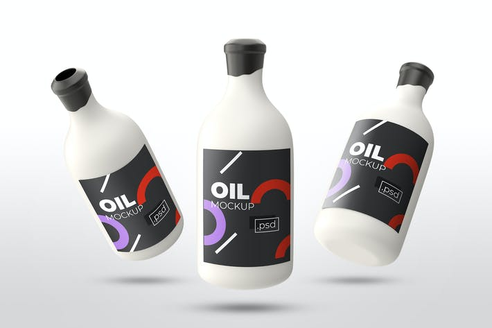 Thumbnail for Realistic Oil Bottle Mockups