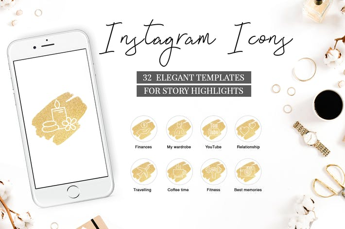 Thumbnail for Instagram Highlight Covers V.3 GOLDEN BRUSH