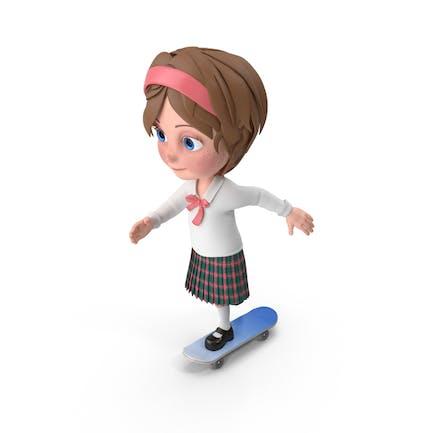Cartoon Girl Meghan Skateboarding