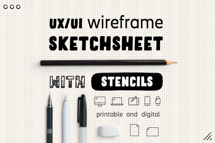Thumbnail for UX Workflow - Wireframe Sketchsheet with Stencils