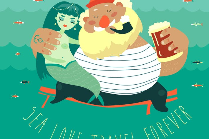 Cover Image For Funny old sailor with cute mermaid