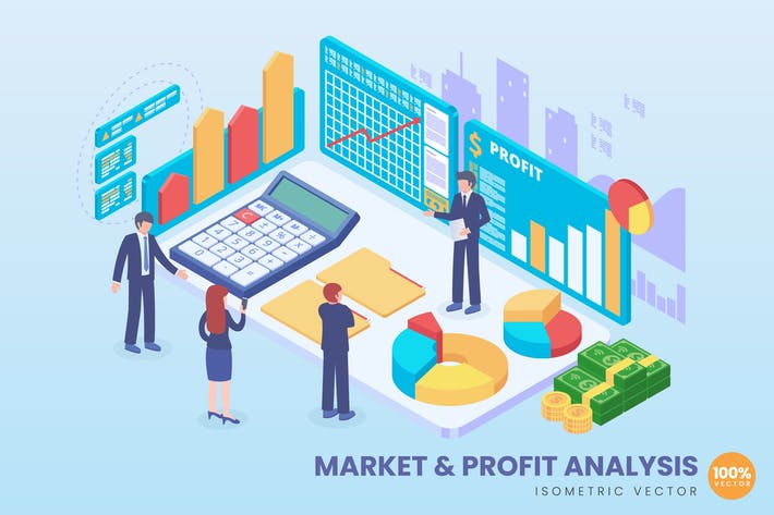 Cover Image For Isometric Market & Profit Analysis Concept