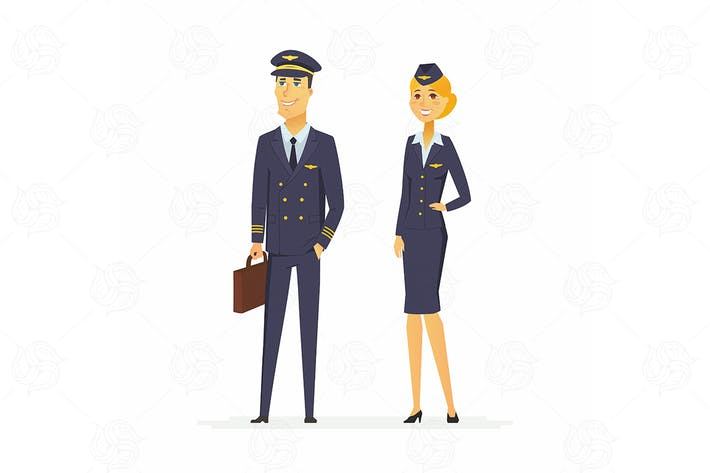 Thumbnail for Pilot and flight attendant - cartoon characters
