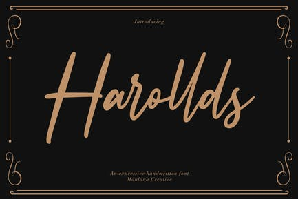 Fuente manuscrita expresiva Harollds