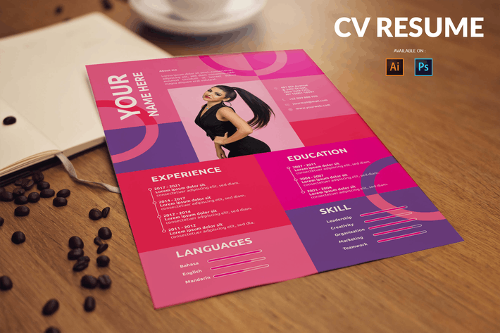 CV Resume Modern - Pink and Purple Theme