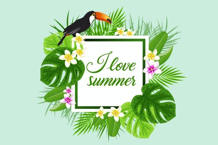 Summer Background with Toucan Bird