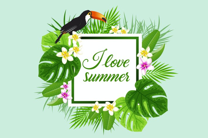 Thumbnail for Summer Background with Toucan Bird