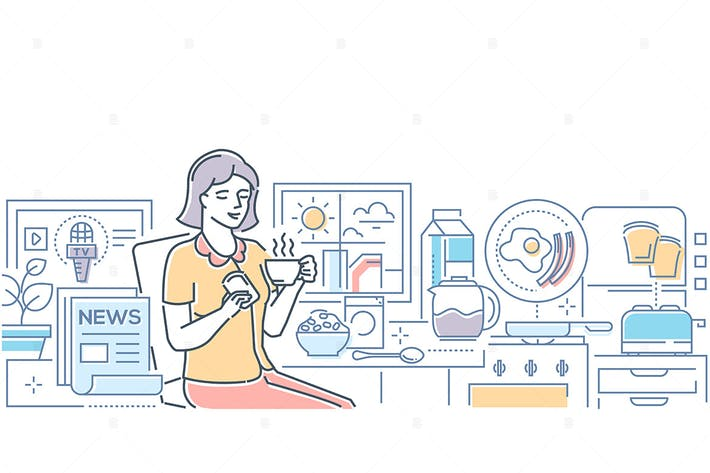 Thumbnail for Good morning - line design style illustration
