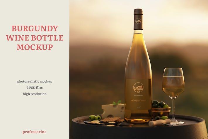Thumbnail for Burgundy Wine Bottle Mockup
