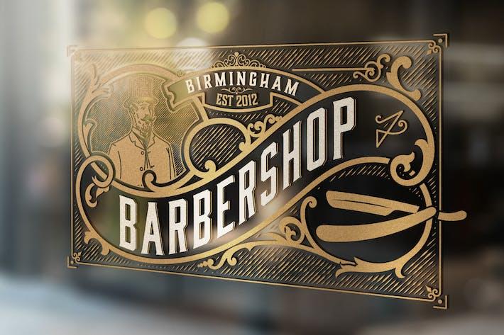 Weinlese-Barbershop-Logo