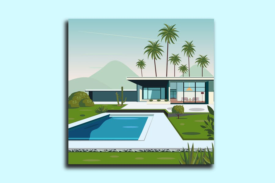 Backyard Building House Illustration