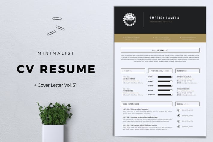 Thumbnail for Minimalist CV Resume Vol. 31