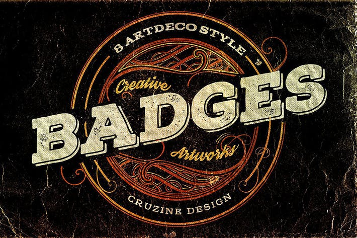 Thumbnail for 8 Artdeco Style Badges