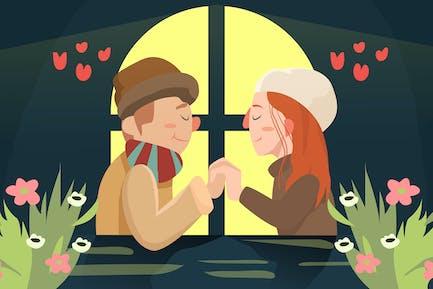 Couple in Love - Vector illustration