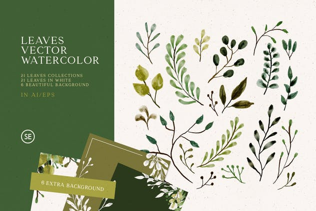 Leaves Vector Watercolor