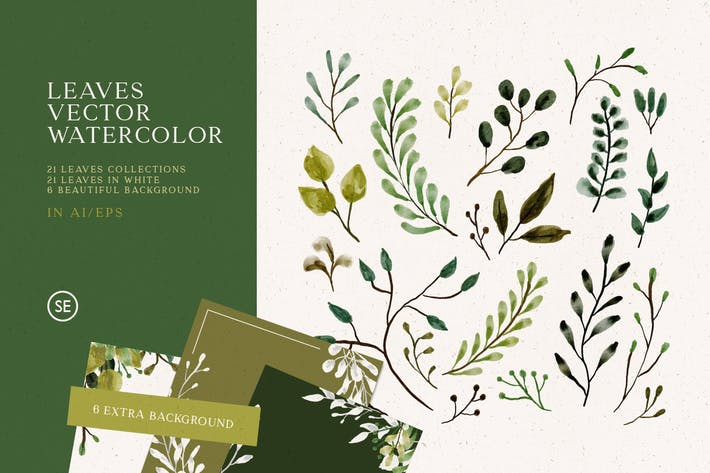 Thumbnail for Leaves Vector Watercolor