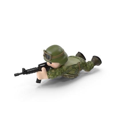 Soldado disparando mentir