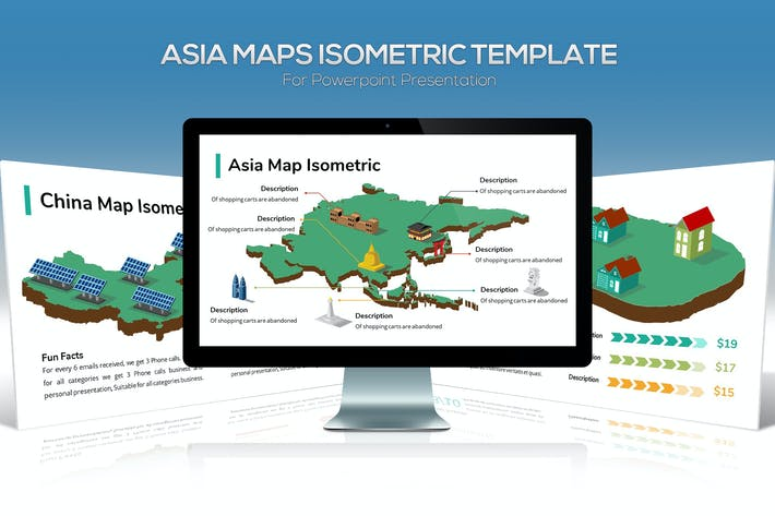 Thumbnail for Asia Maps Isometric & Legends For Powerpoint