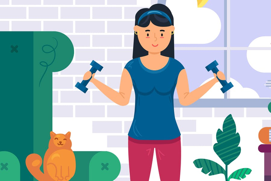 Woman Fitness Workout At Home Illustration