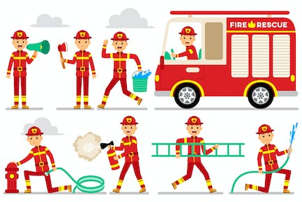 Firefighter Profession Characters Set