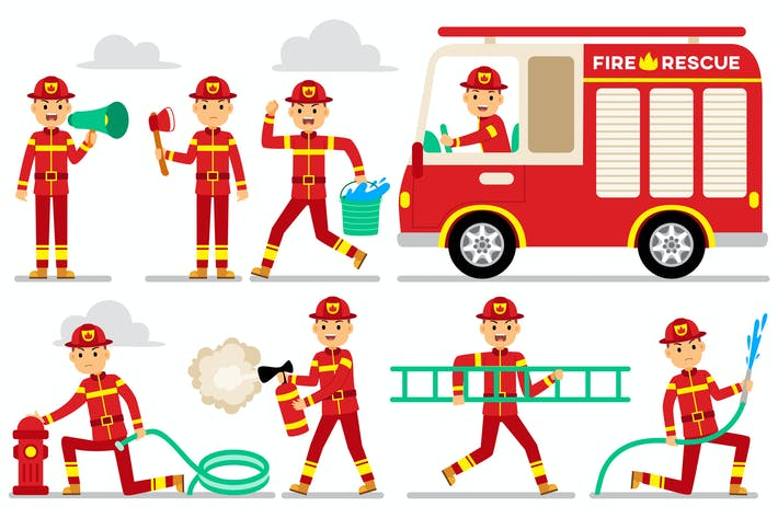 Thumbnail for Firefighter Profession Characters Set