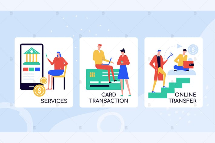 Thumbnail for Online banking services colorful banners