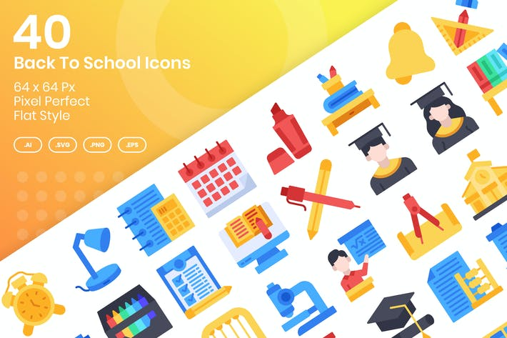 40 Back To School Icons Set - Flat