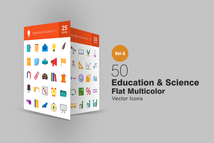 Thumbnail for 50 Education & Science Flat Multicolor Icons