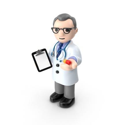 Doctor de dibujos animados con cápsula
