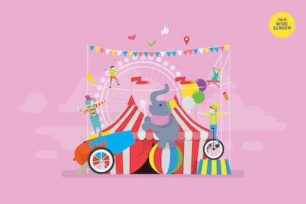 Circus Show Performance Vector Illustration