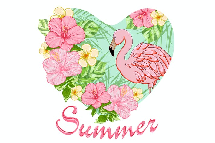 Thumbnail for Tropical Flowers and Pink Flamingo