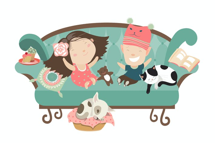 Thumbnail for Happy kids sitting on the couch. Vector