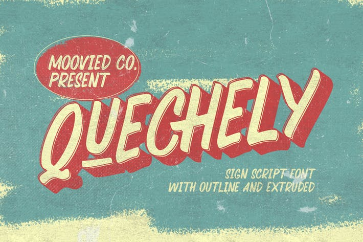 Thumbnail for Quechely Sign Retro Layered Font