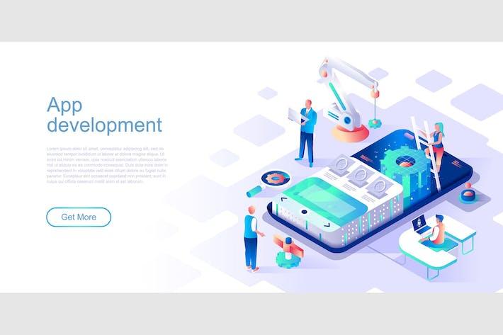 Thumbnail for App Development Isometric Flat Concept Header