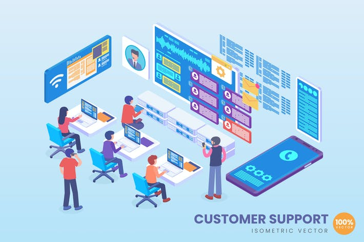 Thumbnail for Isometric Customer Support Vector Concept
