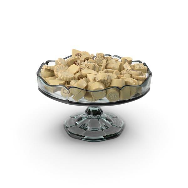 Fancy Glass Bowl with White Chocolate Truffles
