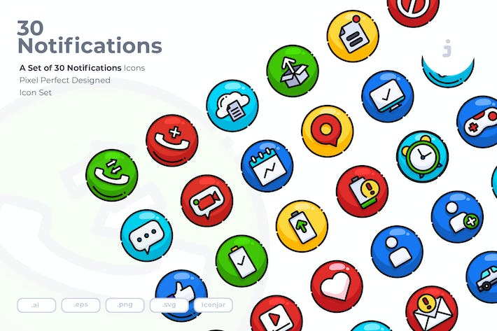 Thumbnail for 30 Notifications Icons
