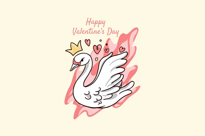 swan love valentine day illustration