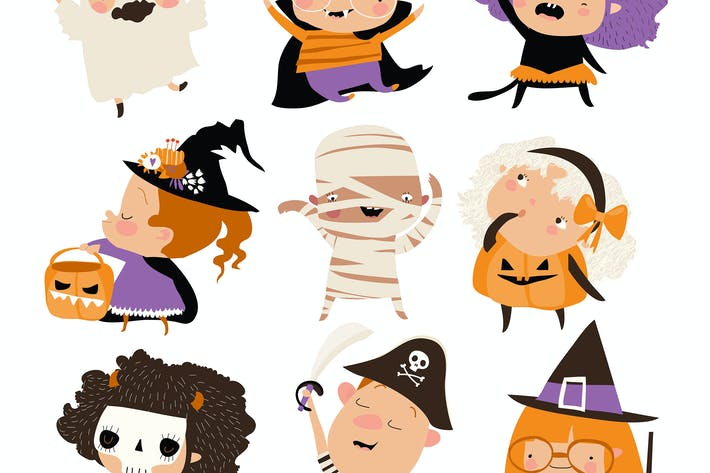 Thumbnail for Cartoon happy children in Halloween costumes.