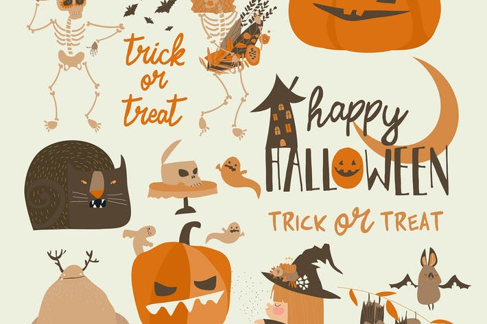 Thumbnail for Vector Set Of Different Halloween Elements And Cha