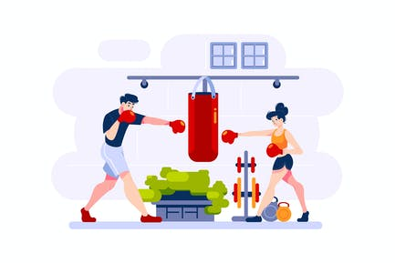 Man and woman practice boxing.
