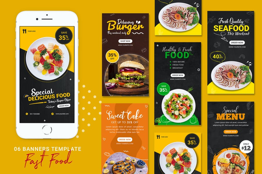 Fast Food Banners Ad Stories Templates