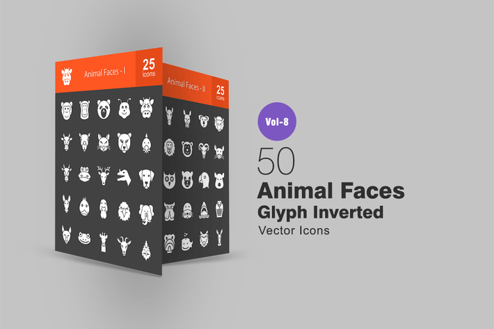 Thumbnail for 50 Animal Faces Glyph Inverted Icons