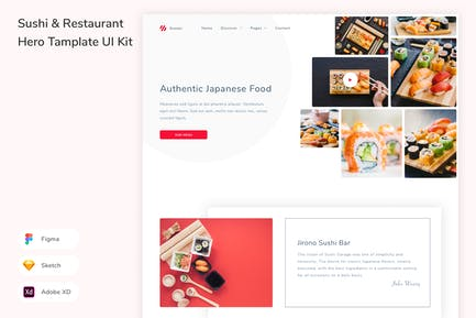 Sushi & Restaurant Hero Tamplate UI Kit
