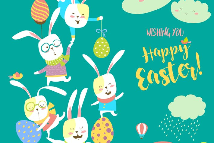 Thumbnail for Funny bunnies celebrating Easter. Vector