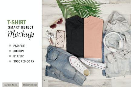 Smart Layer T-Shirt Mockup Flatlay-Display